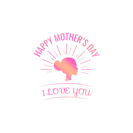 Silhouette head mom. Mothers day card. Vector illustration