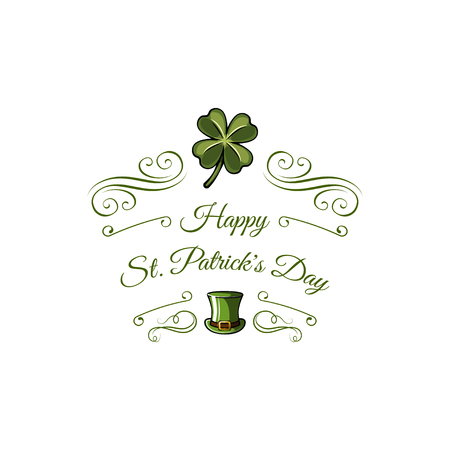 Happy Saint Patricks Day Vector Illustration with Clover, Shamrock and Leprechaun Hat. Иллюстрация