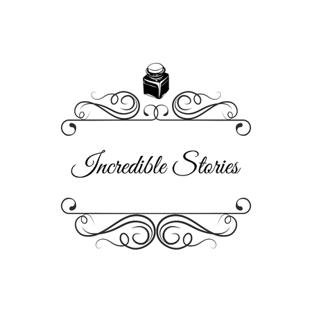 Inkwell Hand drawn templates. Writer badge. Vintage style design elements. Ink decorative illustrations