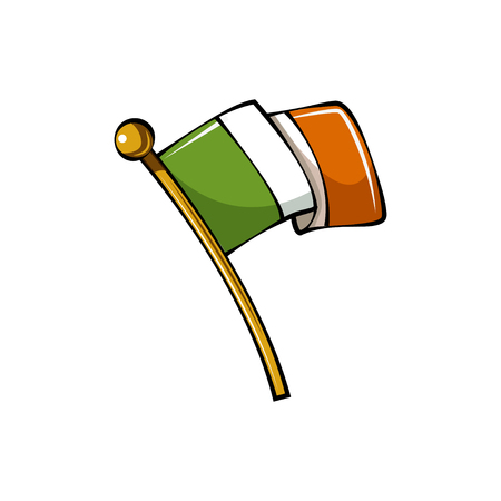 Flag of Ireland in cartoon style illustration. Çizim