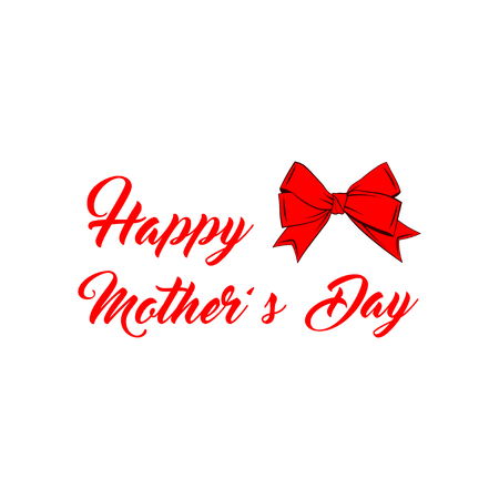 Happy Mothers Day. with red bow. Vector illustration
