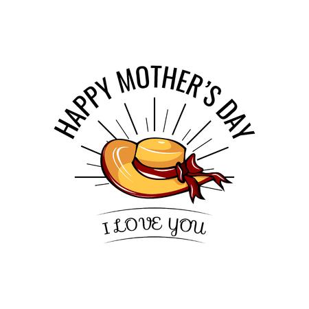 Happy Mother s day wide-brimmed hat card. vector illustration isolated on white Ilustração