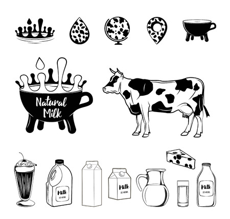 Cow and milk related vector icon set. Well-crafted sign in thin line style with editable stroke. Vector symbols isolated on a white background. . 写真素材 - 96442211