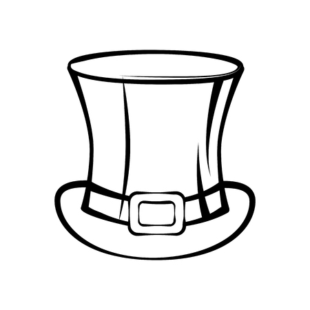 Outlined top hat of Saint Patrick Day symbol vector illustration isolated on white background. Illustration