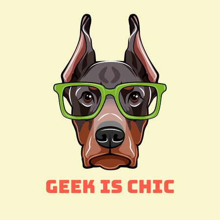 Doberman Pinscher Face in a geek glasses. Smart vector illustration isolated on white background