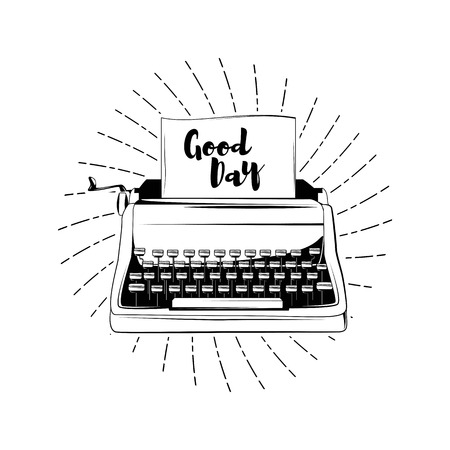 Typewriter - Dood Day card. Vector illustration isolated on white background