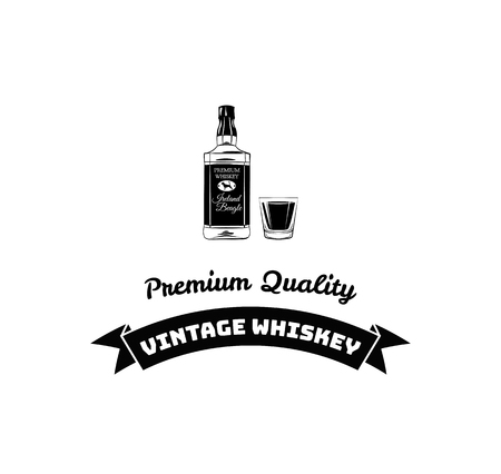 Poster bottle of alcohol with hand drawn lettering. Monochrome vintage drawing for drink menu or t-shirt print. Vector illustration. Çizim