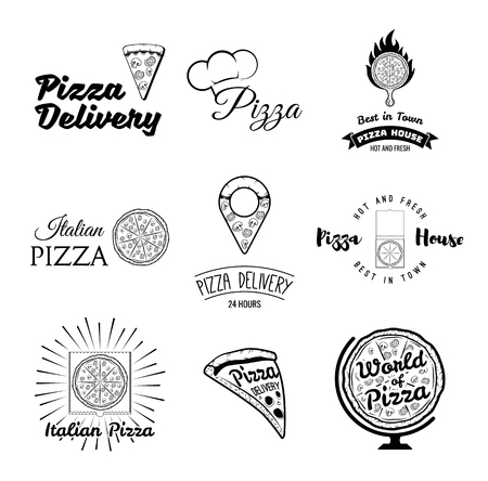 Pizza. Italian Food. Pizza. Food delivery. The Pizza Restaurant. Set of Labels and Badges Pizza. Vector Illustration Pizza. Pizza globe, pizza point map, pizza on the platter, chef hat, Illustration