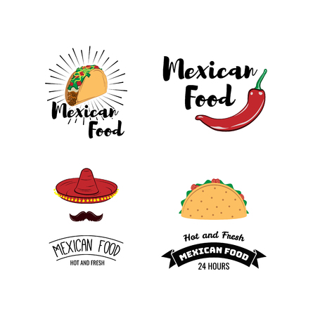 Label set with traditional mexican symbols. Food emblems for restaurant menu mexican food, traditional logo sombrero and cactus. Vector illustration Illustration