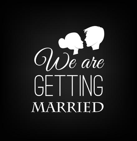 De bruid en bruidegom. Witte silhouet van bruid en bruidegom op een zwarte achtergrond. Vector illustratie.