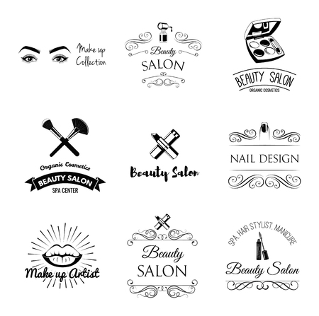 Beauty Salon Design Elements in Vintage Style. Lipstick, mascara, lips, manicure, women eyes, make up brushes, nail and finger. Vintage filigree frame, logo, banner and label. Logo for make up artist. Zdjęcie Seryjne - 96403053