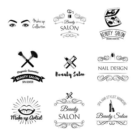 Elementos de diseño de salón de belleza en estilo vintage. Lápiz labial, rímel, labios, manicura, ojos de mujer, pinceles de maquillaje, uñas y dedos. Marco de filigrana vintage, logotipo, pancarta y etiqueta. Logotipo para maquilladora. Logos