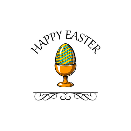 Happy Easter lettering for greeting card with egg-cup, swirls and ornate frames. Colorful Vector illustration.