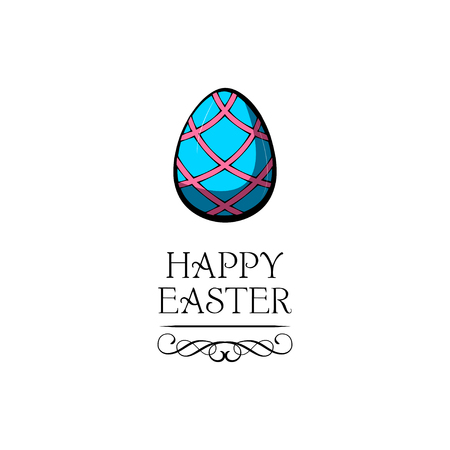 Greeting card with Easter egg and handwritten inscription Happy Easter. Vector illustration. 矢量图像