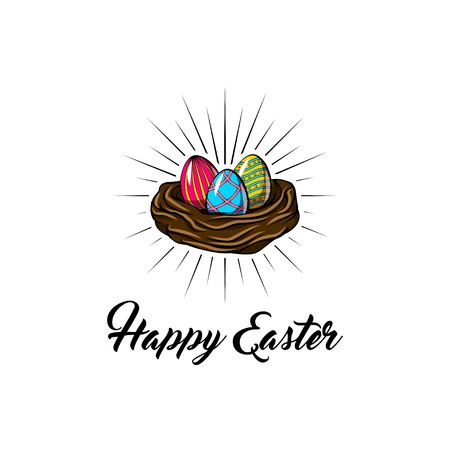 Easter eggs in nest basket with lettering Happy Easter im beams. Colorful vector illustration isolated on white background.