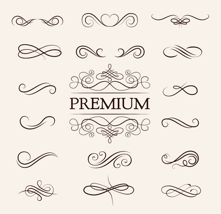 Vintage elements and page decoration. Ornate frames and scroll element. Vector illustration