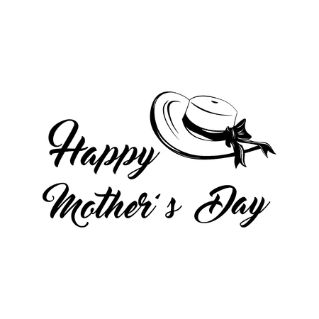 Happy Mother s day wide-brimmed hat card. Vector illustration isolated on white backgroung. Ilustração