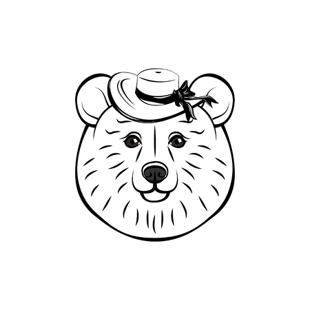 Bear wearing in wide-brimmed hat. Vector illustration isolated on white background. Cute baer face.