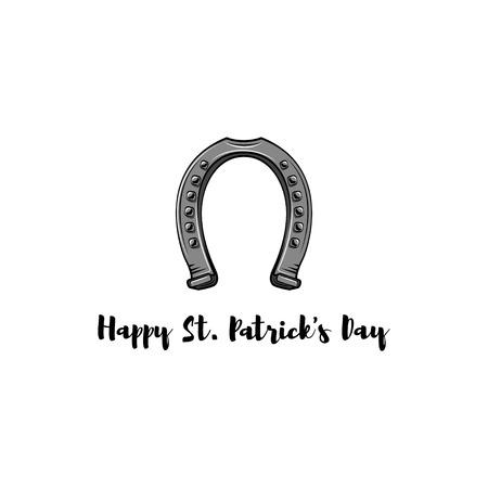 St. Patricks Day. Retro style emblem of horseshoe.