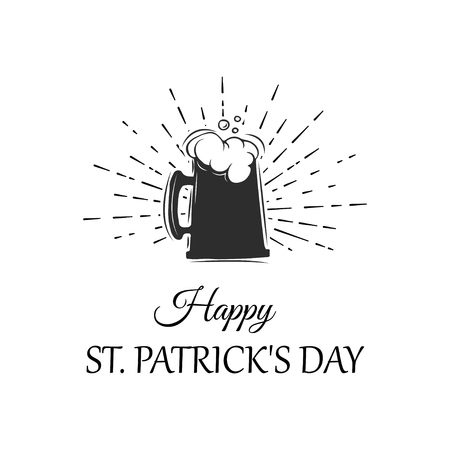St. Patricks Day vector illustration with glass of beer and congratulations in sketch style. Drink menu for celebration. Illustration