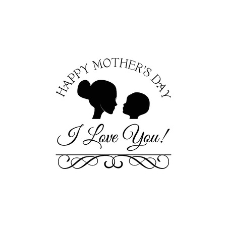 Happy Mother s Day card with beautiful silhouette of mother and baby in vintage style. Vector illustration.