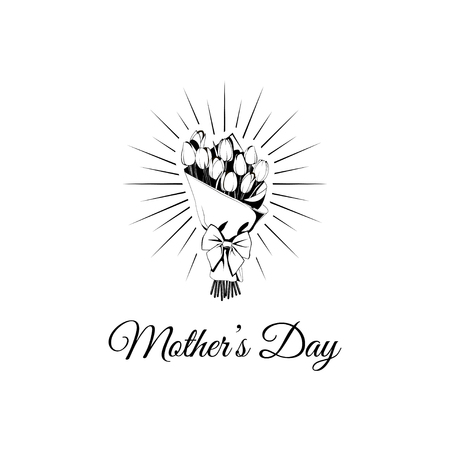 Mother s day greeting card with tulip flowers. With typography greeting message. Vector illustration. Ilustração