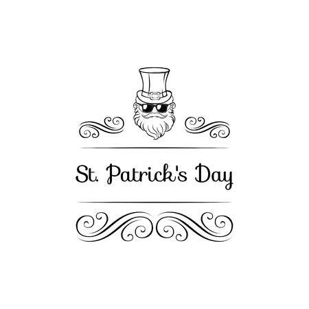 Cute cartoon leprechaun in sunglasses with ribbon and swirls St. Patrick s Day illustration for your design. Vector illustration. Illustration