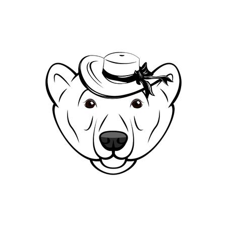 Polar bear face on white background. Vector illustration. Bear in wide-brimmed hat.