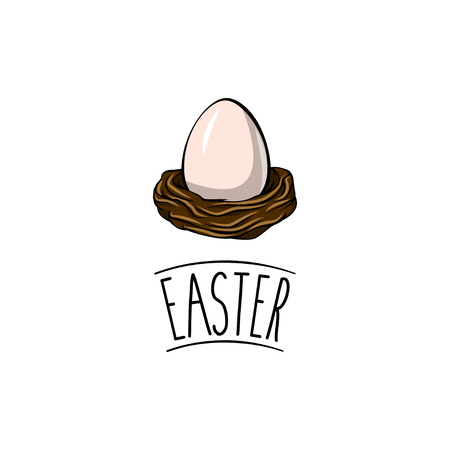 Egg in a nest in cartoon illustration. Stock Illustratie