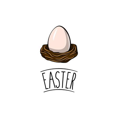 Egg in a nest in cartoon illustration. Illustration