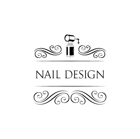 Nail art studio  Template for logo. Nail polish icon. Vector illustration with swirls and ornate frames.