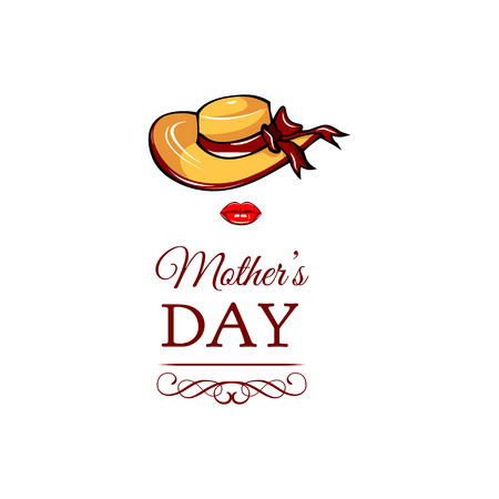 Happy Mothers day wide-brimmed hat and lips greeting card. Vector illustration isolated on white background. Illustration