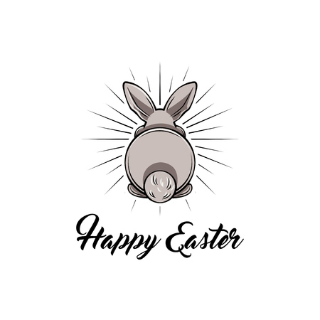 Happy Easter and white bunny bottom Vector illustration. Illustration