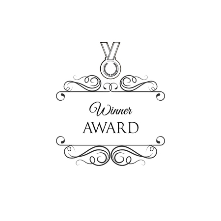 Winner award badge. Medal icon with swirls and ornate frames. Vintage vector illustration.