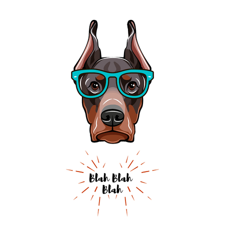Doberman dog in glasses. Geek dog Vector illustration isolated on white background. Archivio Fotografico - 96536196