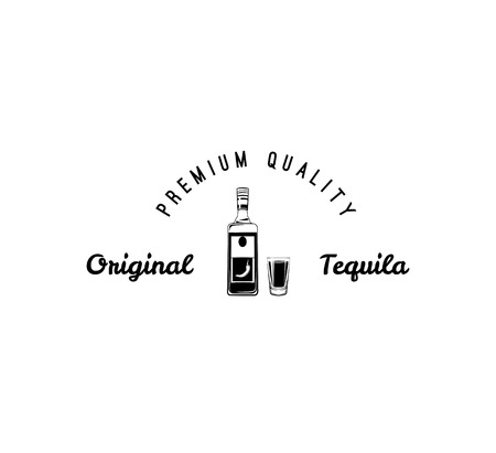 Hand draw of tequila bottle. Vintage Vector illustration. Premium quality.
