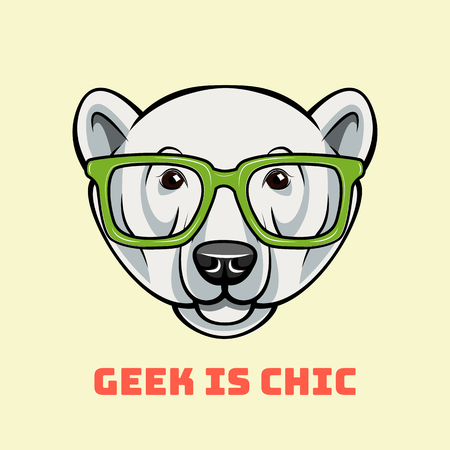 Polar Bear face in nerdy glasses. Geek is chic. Vector illustration isolated on white background Illustration
