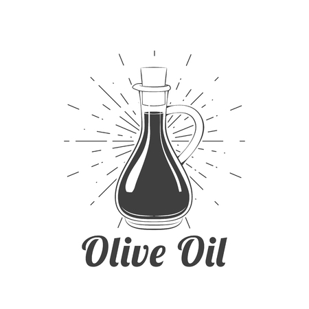 Olive oil in beams icon image. Vector illustration isolated on white background. Ilustração