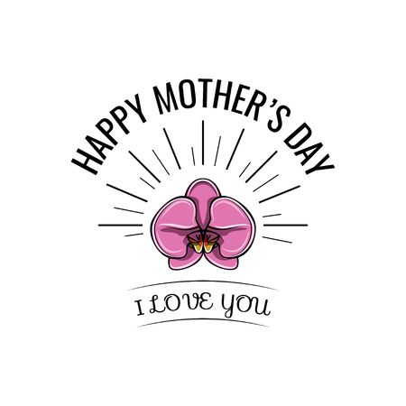 Orchid Mothers Day card in vector format. I love you lettering.