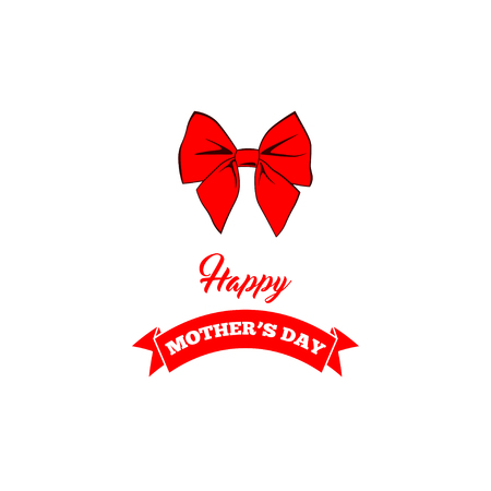 Mothers day card with bow and ribbon. Vector illustration.