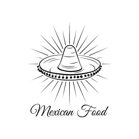 Sombrero in beams. Mexican food logo. Mexican Fast food logotype. Traditional mexican cuisine. Vector illustration.