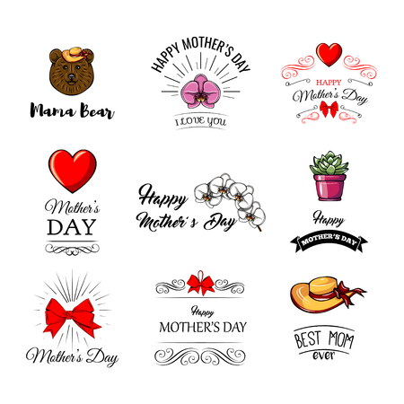 Set of cute illustrations for Mother s Day in cartoon style.