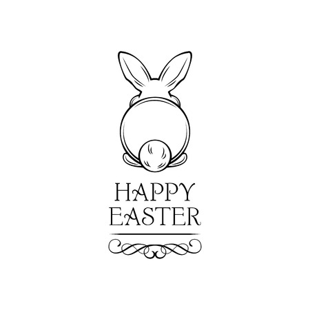Easter rabbit, easter Bunny. Happy Easter lettering. Vector illustration with ornate frame and swirls. Stock Illustratie
