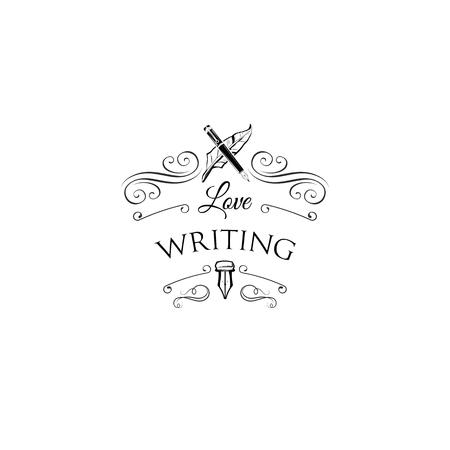 渦巻きと華やかなフレームを持つライターロゴ。羽、エレガントなヴィンテージペン。ベクターの図。