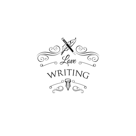 Writer logo with swirls and ornate frames. Feather, elegant vintage pen. Vector illustration.