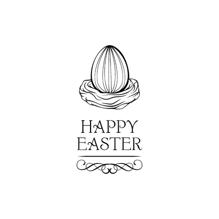 Egg in a nest. Easter. Christian symbol. Easter template. Easter template. Food. Symbol, icon, isolated pattern stationery. Vector illusrtation with swirls