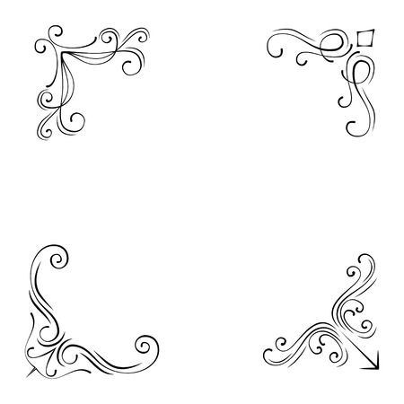 Set of Vintage Style Design Elements Corners and Borders  isolated on white background.