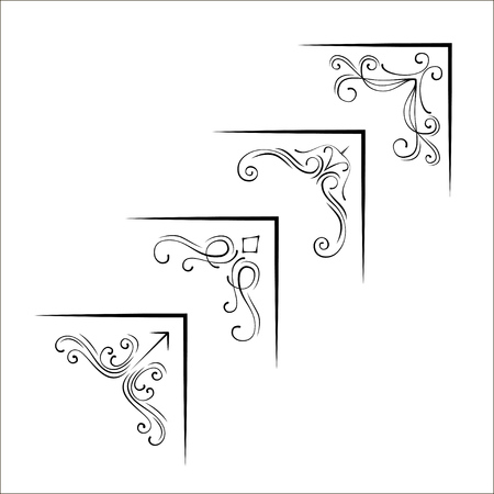 Set of ornamental corners in vintage style. Vector illustration. Swirls and filigree elements.