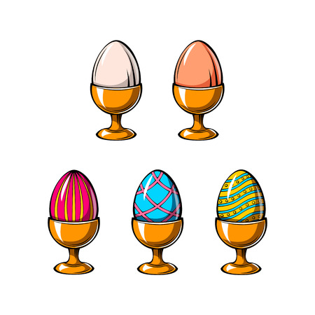 Happy Easter day greeting with egg holder. Easter eggs in egg-cup set vector illustration isolated on white background.