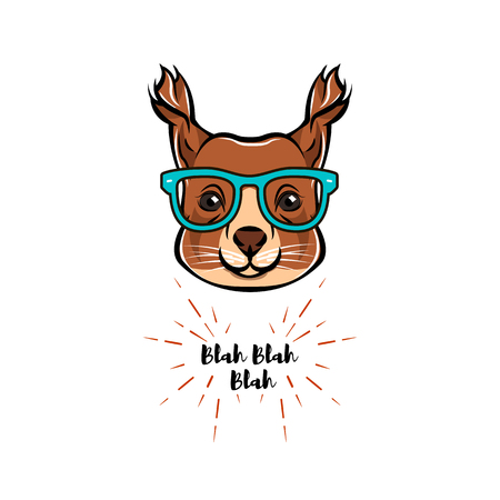 Portrait of Squirrel in glasses. Squirrel geek  Vector illustration isolated on white background.